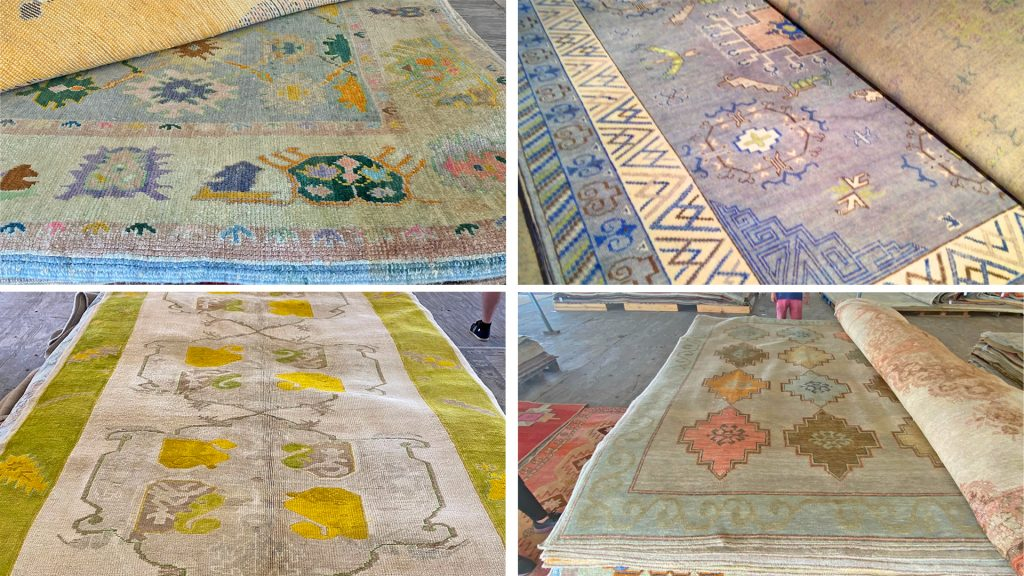 Green, blue, and yellow colored rugs that show brighter color and patterns.