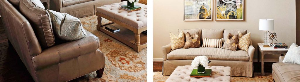 Red, blue, and yellow colored rug in a client's living room that Amitha helped to pick out based on her 3-step system.