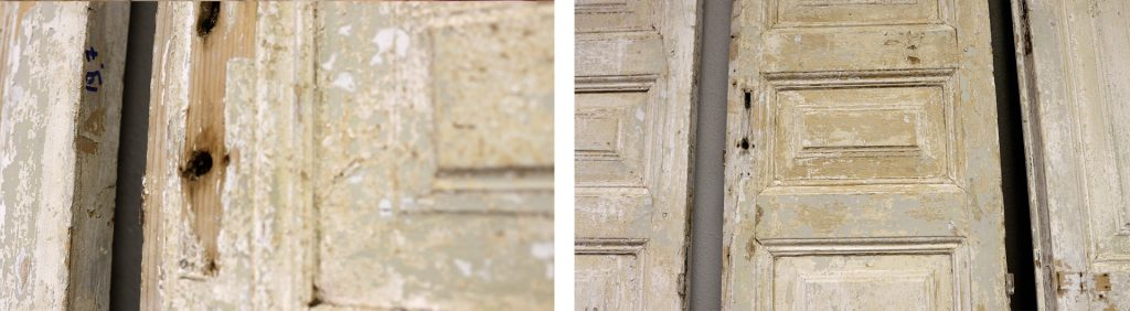 A close-up of the antique hauled door panels with distressed wooden paint, by Amitha Verma.