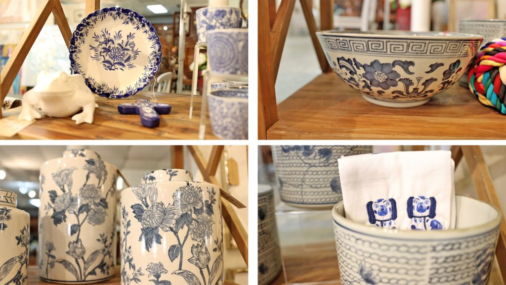 Compilation of blue and white plates, bowls, planters, and decor to show the resurfacing of the blue and white farmhouse design trend in 2021, by Amitha Verma.