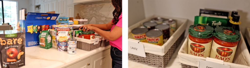 Amitha Verma groups and places canned foods and jars into gray wicker baskets to add to her farmhouse pantry organizing project.