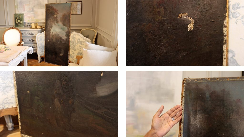 Large dark and moody antique painting for Amitha Verma's husband's office found on her latest antique shopping haul.