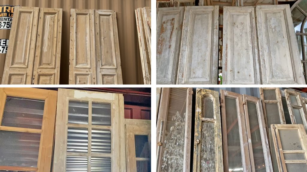 While shopping at Round Top, Amitha Verma found antique doors with chippy wood, white wash, screens, and glass.