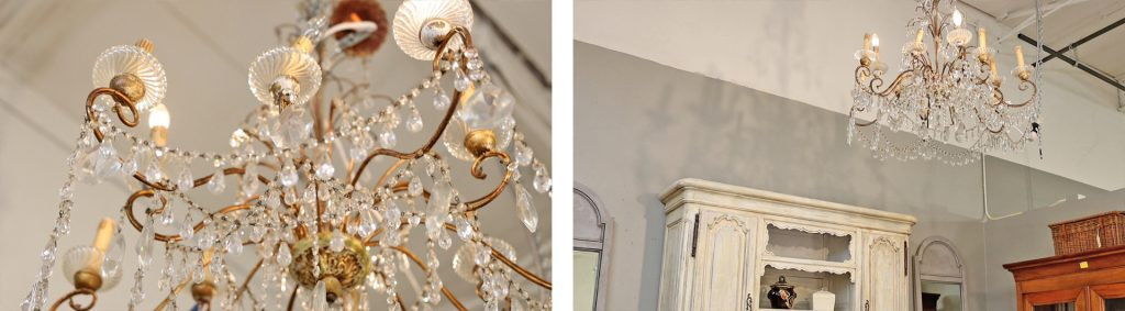 Large scale carved chandeliers with crystals at Village Antiques to show goopy lighting example, by Amitha Verma.