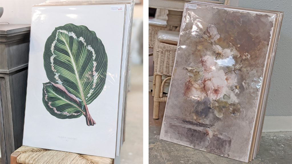 Large print canvas art with bright colors and florals at Village Antiques.