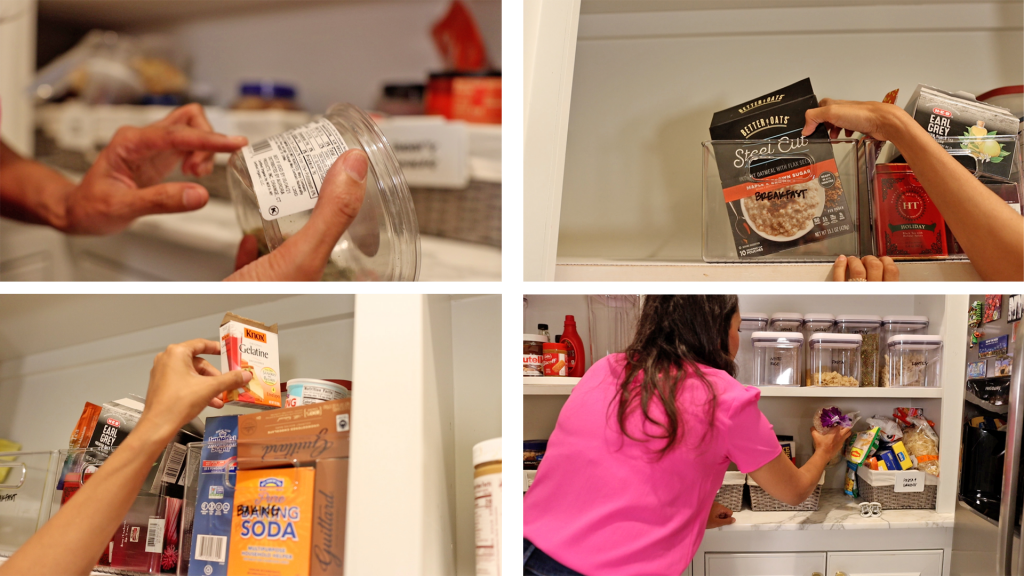 Farmhouse pantry organizing removing expired food and rearranging