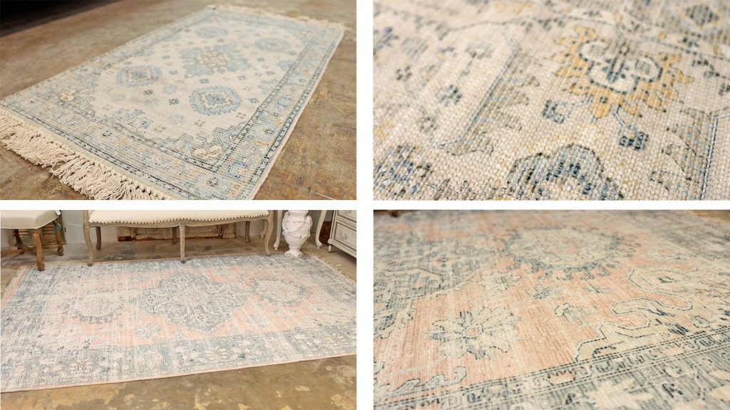Oushak rugs available at Village Antiques in pink, blue, yellow, and gray colorways.