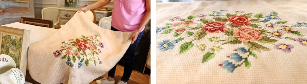 Small white area rug with cross-stitched bouquet details perfect for the farmhouse office makeover, found on Amitha Verma's latest antique shopping haul.