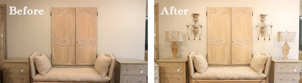 The final room makeover reveal using farmhouse lighting at Village Antiques.